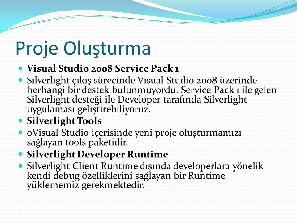 Proje Oluşturma  Visual Studio 2008 Service Pack 1  Silverlight çıkış sürecinde Visual Studio 2008 üzerinde herhangi bir destek bulunmuyordu. Servic