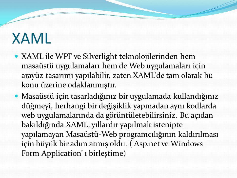 XAML  XAML ile WPF ve Silverlight teknolojilerinden hem masaüstü uygulamaları hem de Web uygulamaları için arayüz tasarımı yapılabilir, zaten XAML'de