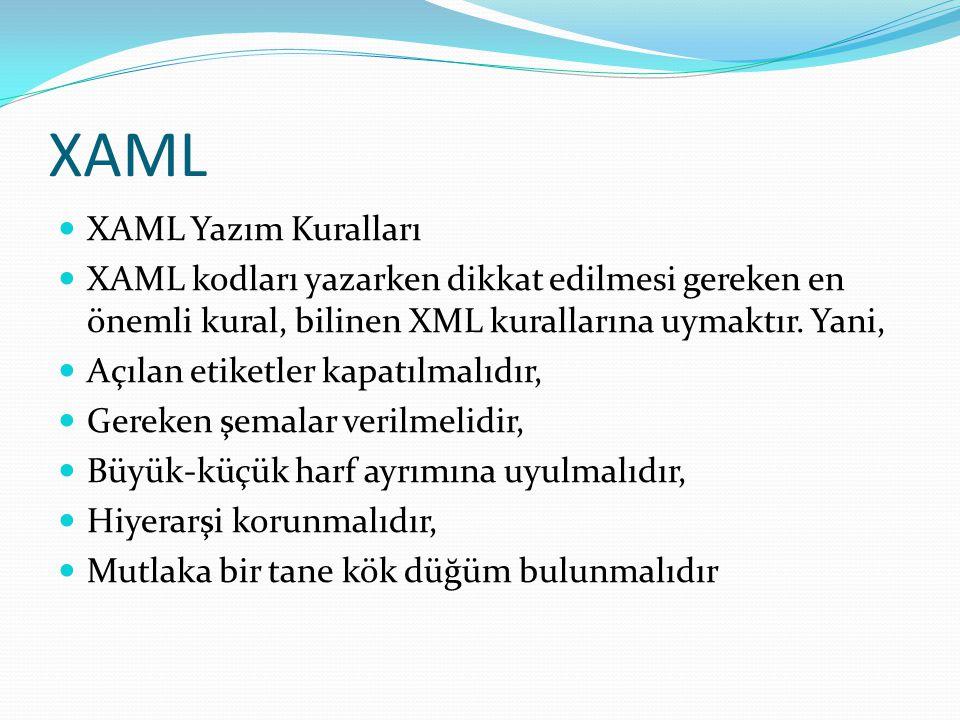XAML  XAML Yazım Kuralları  XAML kodları yazarken dikkat edilmesi gereken en önemli kural, bilinen XML kurallarına uymaktır. Yani,  Açılan etiketle