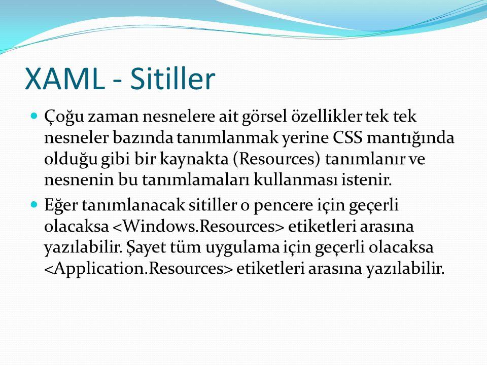 XAML - Sitiller  Çoğu zaman nesnelere ait görsel özellikler tek tek nesneler bazında tanımlanmak yerine CSS mantığında olduğu gibi bir kaynakta (Reso