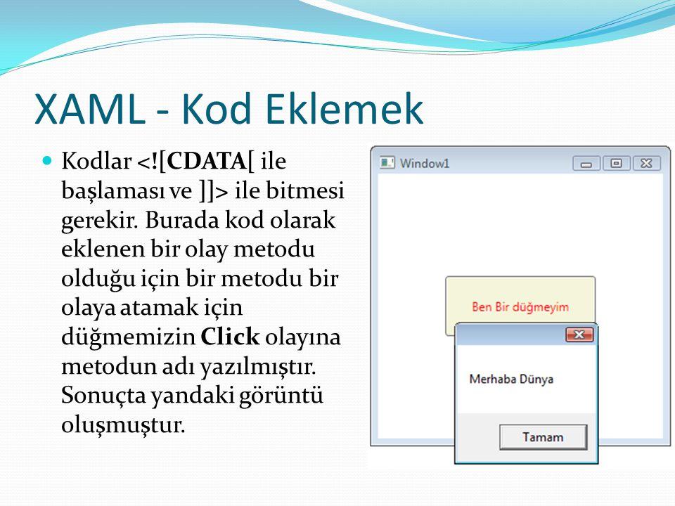 XAML - Kod Eklemek  Kodlar ile bitmesi gerekir. Burada kod olarak eklenen bir olay metodu olduğu için bir metodu bir olaya atamak için düğmemizin Cli