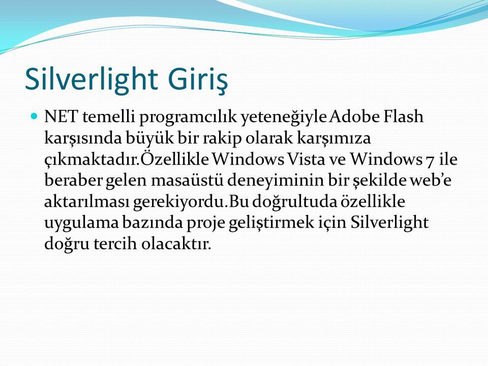 Silverlight Giriş  NET temelli programcılık yeteneğiyle Adobe Flash karşısında büyük bir rakip olarak karşımıza çıkmaktadır.Özellikle Windows Vista v