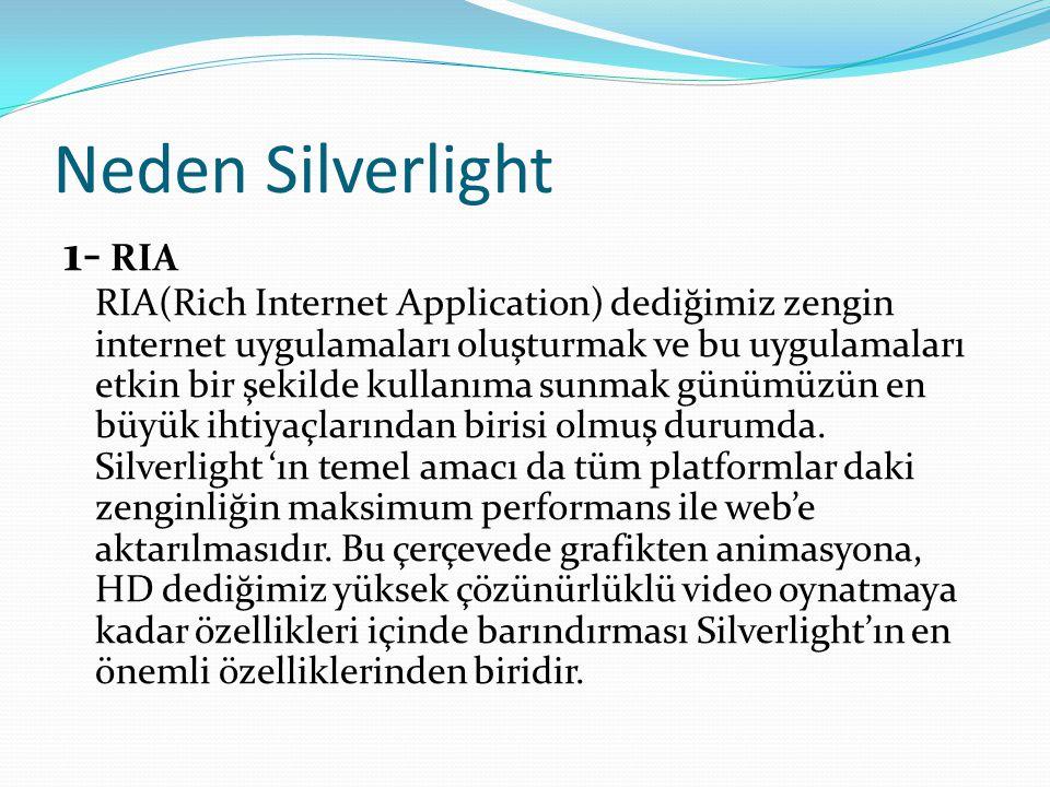 Neden Silverlight 1- RIA RIA(Rich Internet Application) dediğimiz zengin internet uygulamaları oluşturmak ve bu uygulamaları etkin bir şekilde kullanı