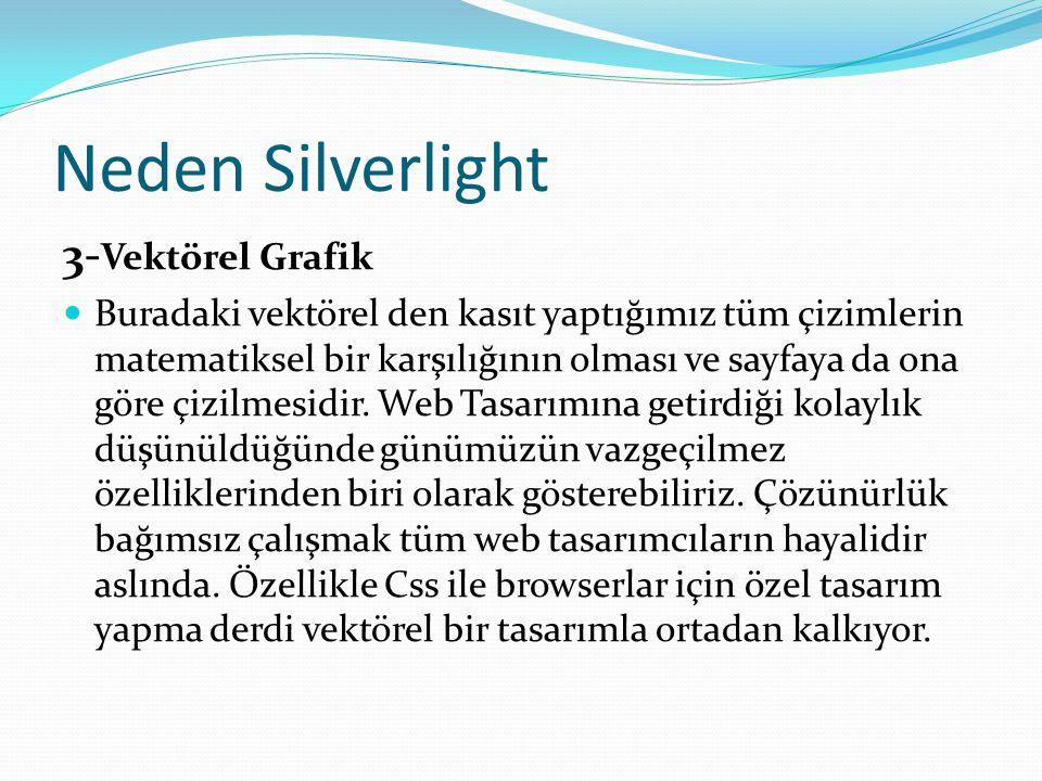 Neden Silverlight 3- Vektörel Grafik  Buradaki vektörel den kasıt yaptığımız tüm çizimlerin matematiksel bir karşılığının olması ve sayfaya da ona gö