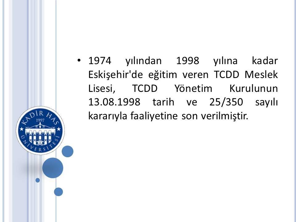 • 1974 yılından 1998 yılına kadar Eskişehir de eğitim veren TCDD Meslek Lisesi, TCDD Yönetim Kurulunun 13.08.1998 tarih ve 25/350 sayılı kararıyla faaliyetine son verilmiştir.