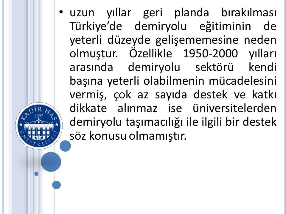 • uzun yıllar geri planda bırakılması Türkiye'de demiryolu eğitiminin de yeterli düzeyde gelişememesine neden olmuştur.