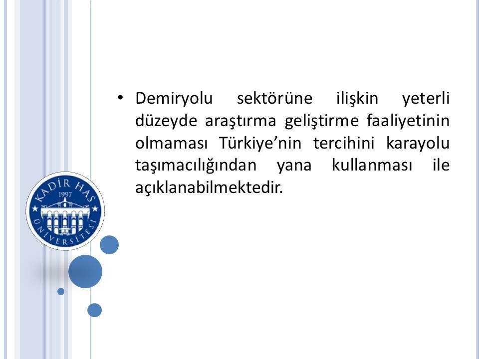 • Demiryolu sektörüne ilişkin yeterli düzeyde araştırma geliştirme faaliyetinin olmaması Türkiye'nin tercihini karayolu taşımacılığından yana kullanması ile açıklanabilmektedir.