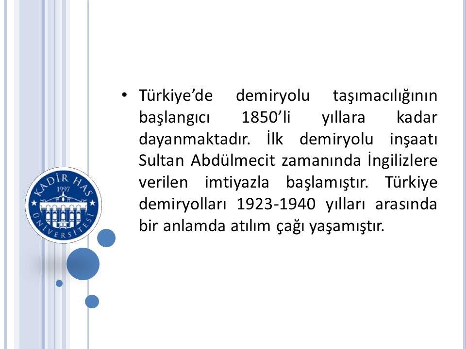 • Türkiye'de demiryolu taşımacılığının başlangıcı 1850'li yıllara kadar dayanmaktadır.
