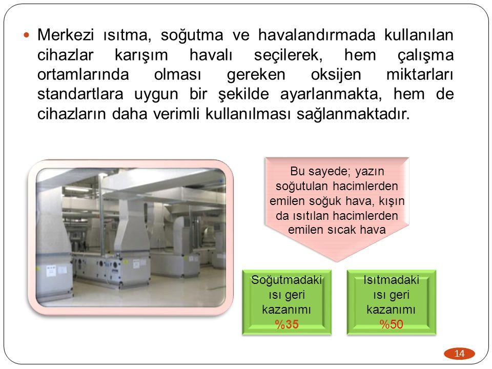 14  Merkezi ısıtma, soğutma ve havalandırmada kullanılan cihazlar karışım havalı seçilerek, hem çalışma ortamlarında olması gereken oksijen miktarlar