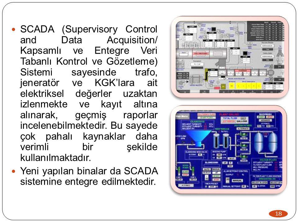 18  SCADA (Supervisory Control and Data Acquisition/ Kapsamlı ve Entegre Veri Tabanlı Kontrol ve Gözetleme) Sistemi sayesinde trafo, jeneratör ve KGK