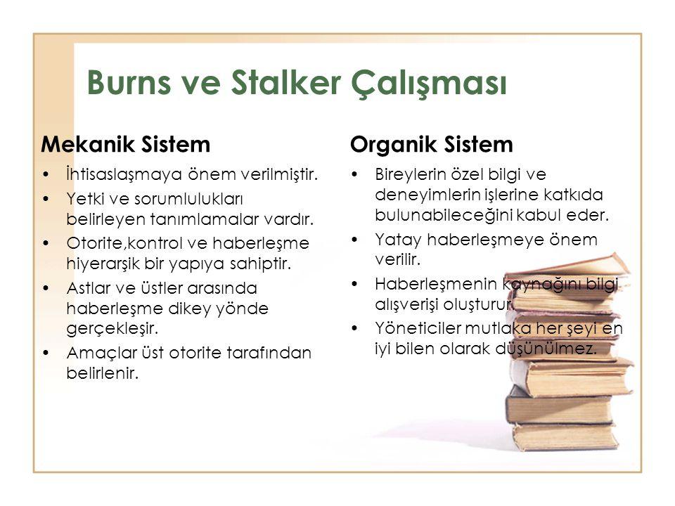 Burns ve Stalker Çalışması Mekanik Sistem •İhtisaslaşmaya önem verilmiştir. •Yetki ve sorumlulukları belirleyen tanımlamalar vardır. •Otorite,kontrol