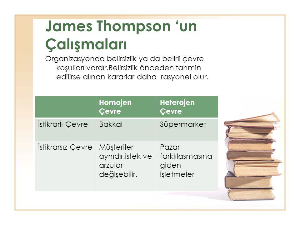 James Thompson 'un Çalışmaları Organizasyonda belirsizlik ya da belirli çevre koşulları vardır.Belirsizlik önceden tahmin edilirse alınan kararlar dah