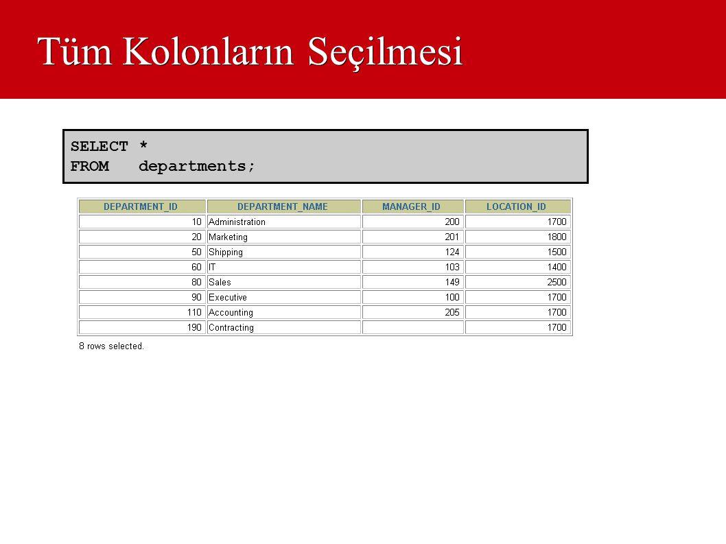 Tüm Kolonların Seçilmesi SELECT * FROM departments;