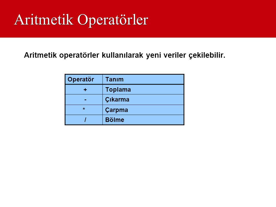 Aritmetik Operatörler Aritmetik operatörler kullanılarak yeni veriler çekilebilir. OperatörTanım +Toplama -Çıkarma *Çarpma /Bölme