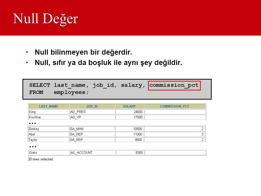 Null Değer •Null bilinmeyen bir değerdir. •Null, sıfır ya da boşluk ile aynı şey değildir. SELECT last_name, job_id, salary, commission_pct FROM emplo