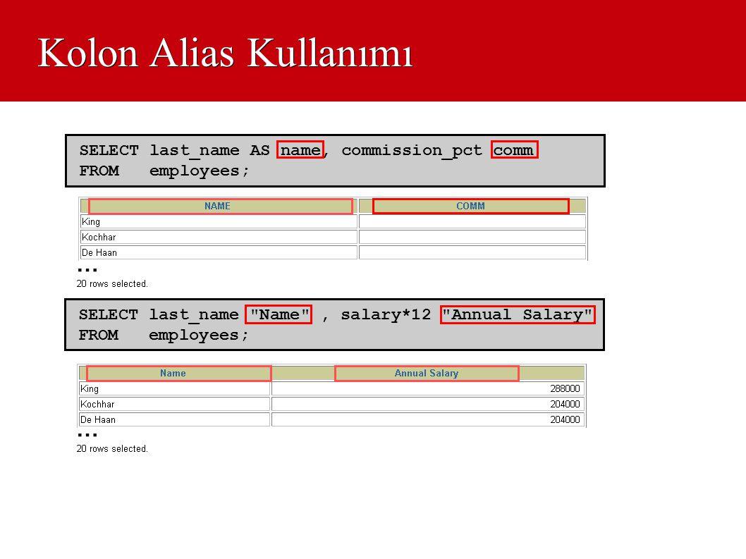 Kolon Alias Kullanımı SELECT last_name
