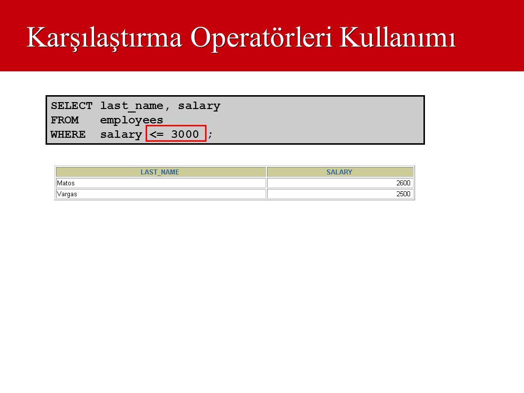 Karşılaştırma Operatörleri Kullanımı SELECT last_name, salary FROM employees WHERE salary <= 3000 ;