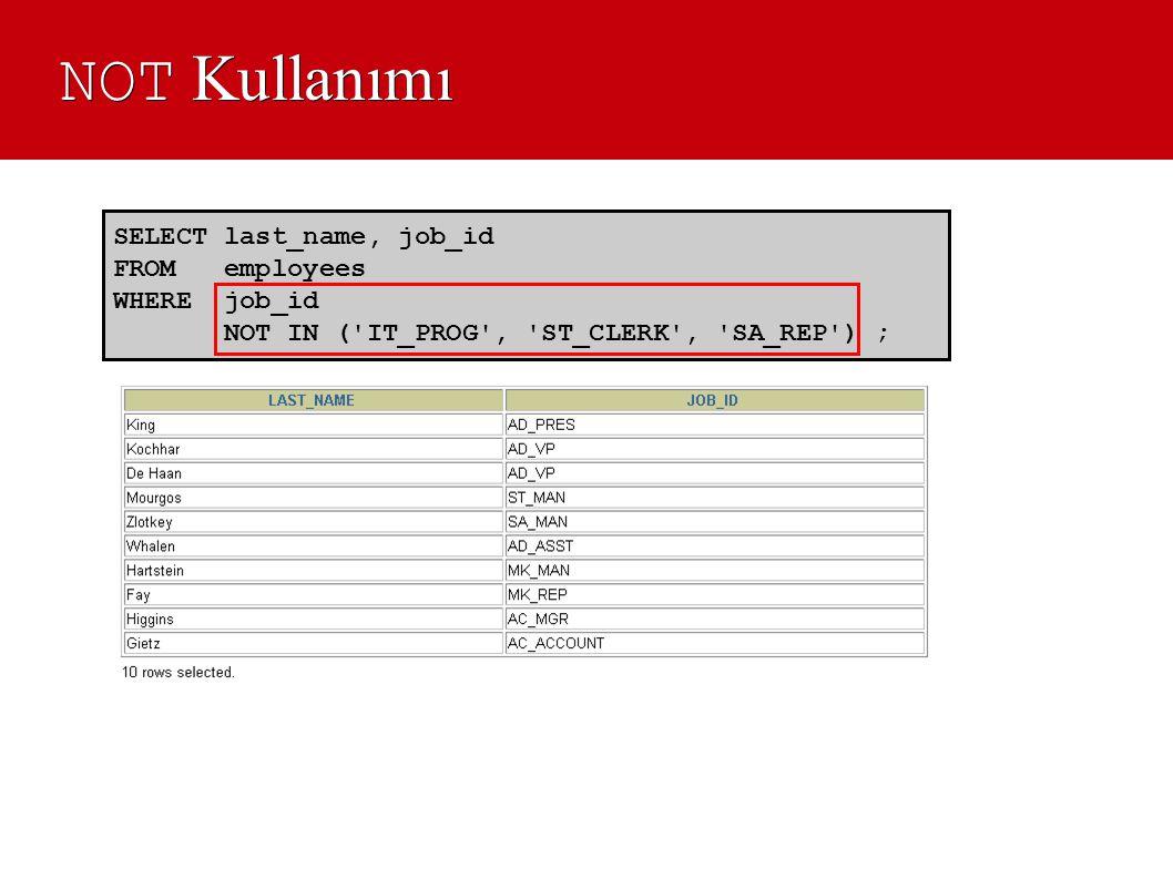 NOT Kullanımı SELECT last_name, job_id FROM employees WHERE job_id NOT IN ('IT_PROG', 'ST_CLERK', 'SA_REP') ;