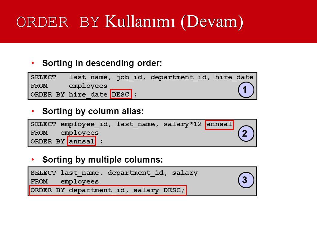 ORDER BY Kullanımı (Devam) •Sorting in descending order: •Sorting by column alias: •Sorting by multiple columns: SELECT last_name, job_id, department_