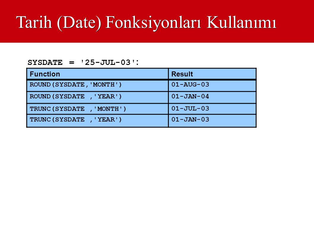 Tarih (Date) Fonksiyonları Kullanımı FunctionResult ROUND(SYSDATE,'MONTH')01-AUG-03 ROUND(SYSDATE,'YEAR')01-JAN-04 TRUNC(SYSDATE,'MONTH') 01-JUL-03 TR