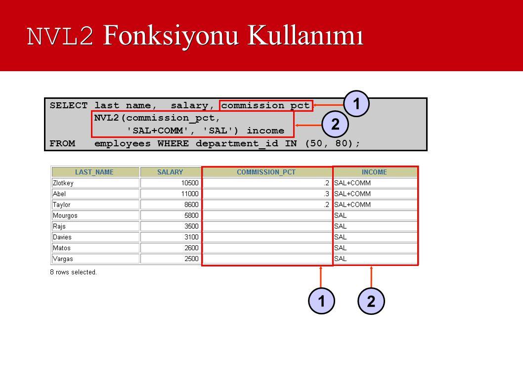 NVL2 Fonksiyonu Kullanımı SELECT last_name, salary, commission_pct, NVL2(commission_pct, 'SAL+COMM', 'SAL') income FROM employees WHERE department_id