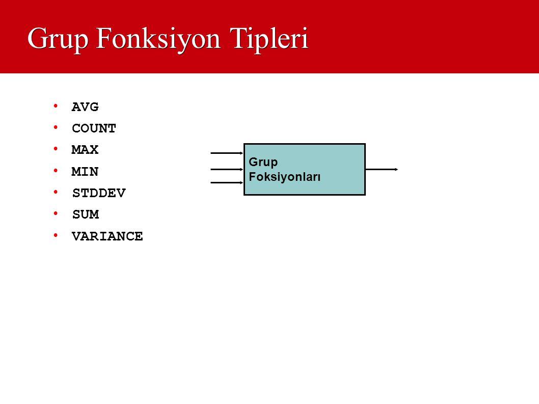 Grup Fonksiyon Tipleri • AVG • COUNT • MAX • MIN • STDDEV • SUM • VARIANCE Grup Foksiyonları