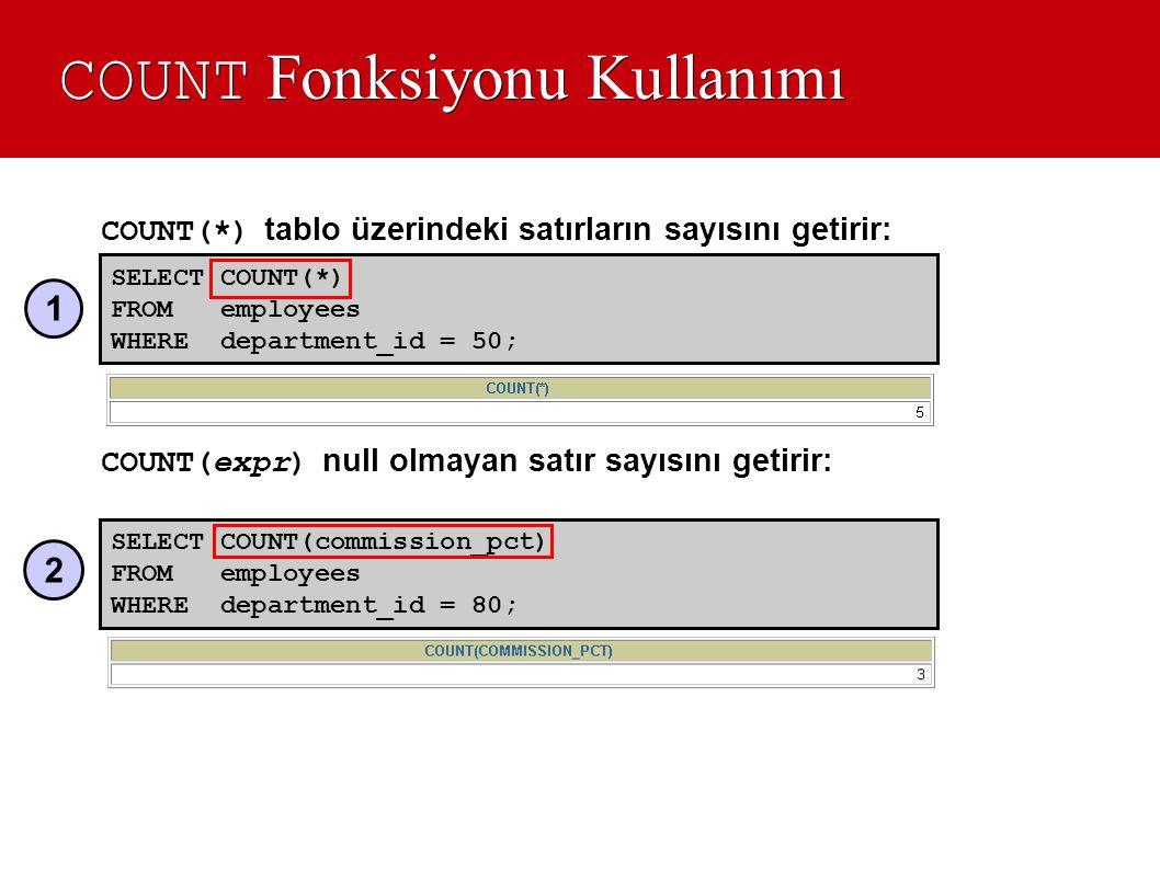 COUNT Fonksiyonu Kullanımı COUNT(*) tablo üzerindeki satırların sayısını getirir: COUNT(expr) null olmayan satır sayısını getirir: SELECT COUNT(commis
