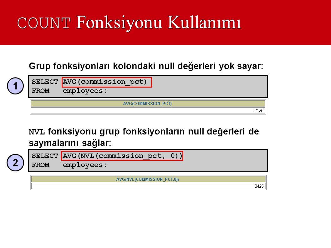 COUNT Fonksiyonu Kullanımı Grup fonksiyonları kolondaki null değerleri yok sayar: NVL fonksiyonu grup fonksiyonların null değerleri de saymalarını sağ