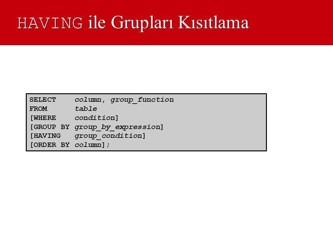 HAVING ile Grupları Kısıtlama SELECT column, group_function FROM table [WHERE condition] [GROUP BY group_by_expression] [HAVING group_condition] [ORDE
