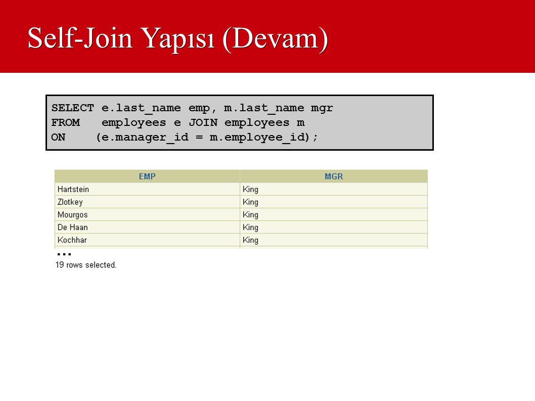 Self-Join Yapısı (Devam) SELECT e.last_name emp, m.last_name mgr FROM employees e JOIN employees m ON (e.manager_id = m.employee_id); …