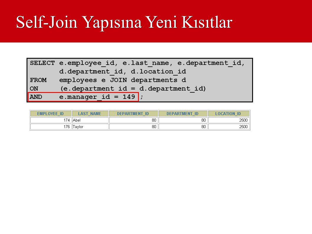 Self-Join Yapısına Yeni Kısıtlar SELECT e.employee_id, e.last_name, e.department_id, d.department_id, d.location_id FROM employees e JOIN departments