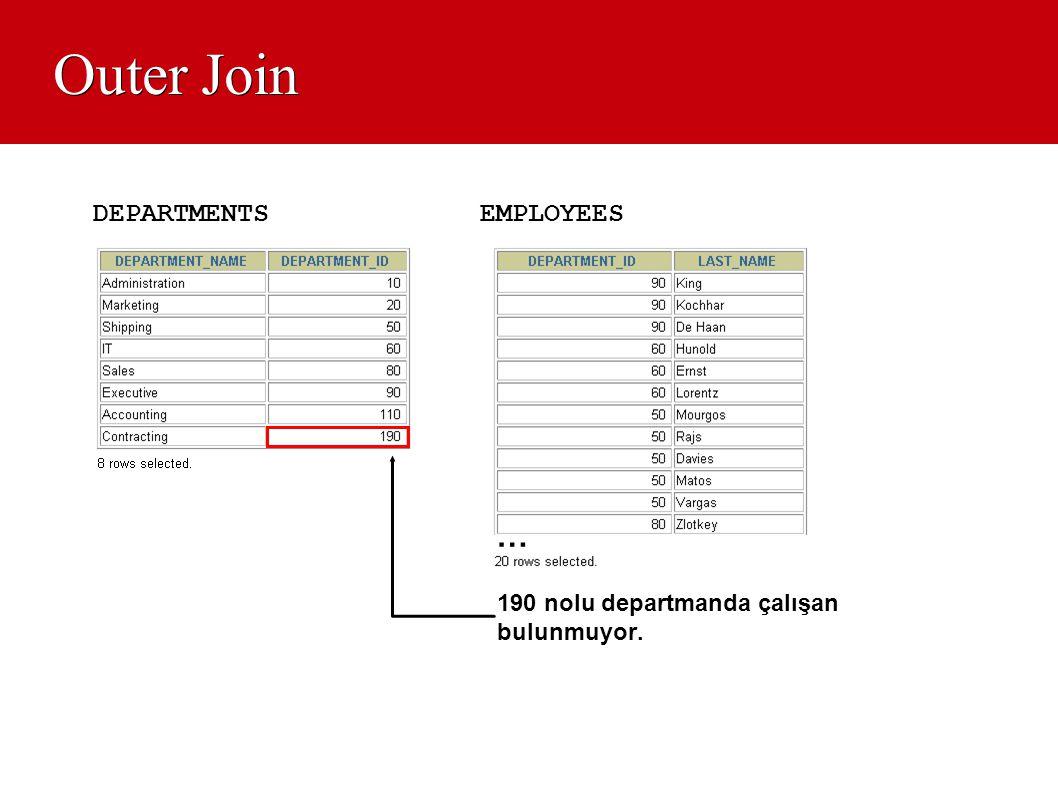 Outer Join EMPLOYEESDEPARTMENTS 190 nolu departmanda çalışan bulunmuyor. …
