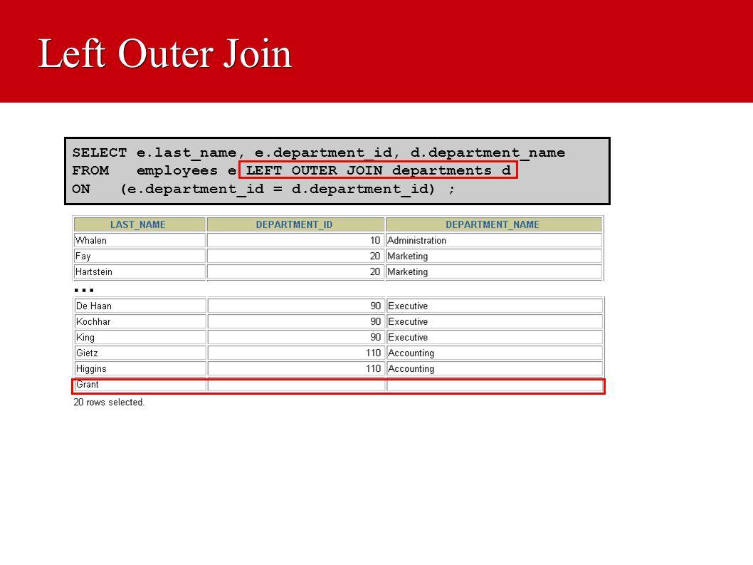 Left Outer Join SELECT e.last_name, e.department_id, d.department_name FROM employees e LEFT OUTER JOIN departments d ON (e.department_id = d.departme