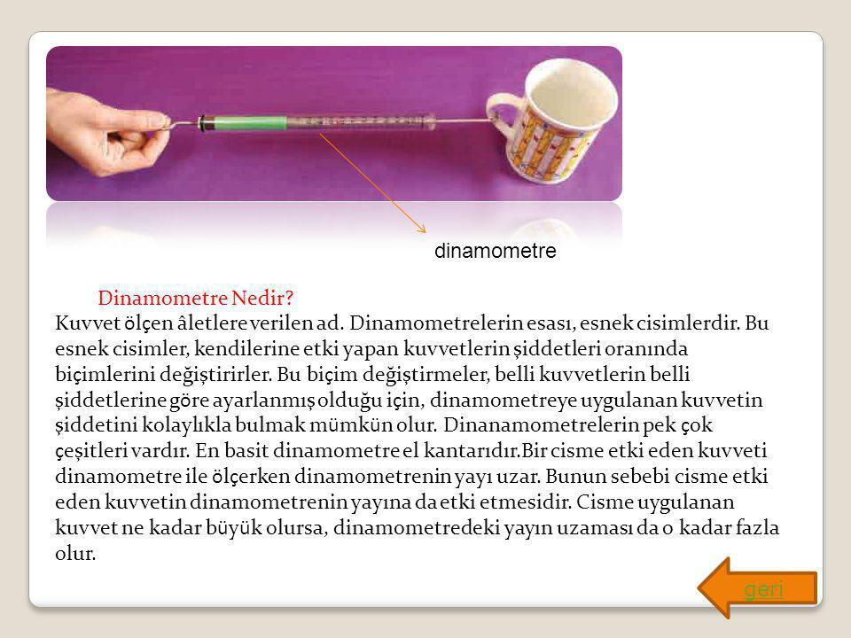 dinamometre Dinamometre Nedir? Kuvvet ölçen âletlere verilen ad. Dinamometrelerin esası, esnek cisimlerdir. Bu esnek cisimler, kendilerine etki yapan