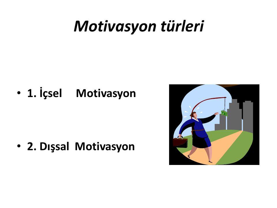 Motivasyon türleri • 1. İçsel Motivasyon • 2. Dışsal Motivasyon