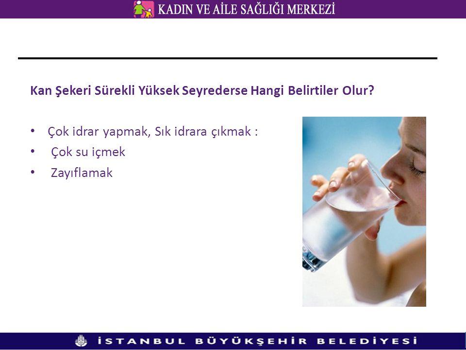 Kan Şekeri Sürekli Yüksek Seyrederse Hangi Belirtiler Olur? • Çok idrar yapmak, Sık idrara çıkmak : • Çok su içmek • Zayıflamak