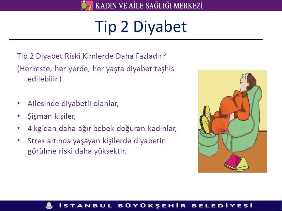 Tip 2 Diyabet Tip 2 Diyabet Riski Kimlerde Daha Fazladır? (Herkeste, her yerde, her yaşta diyabet teşhis edilebilir.) • Ailesinde diyabetli olanlar, •