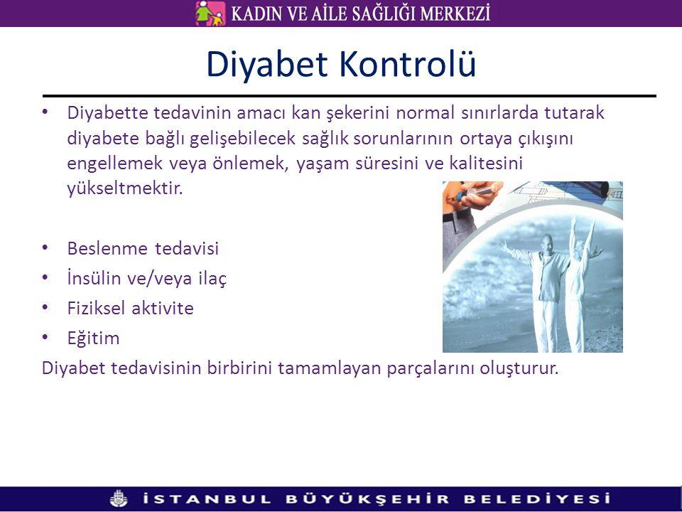Diyabet Kontrolü • Diyabette tedavinin amacı kan şekerini normal sınırlarda tutarak diyabete bağlı gelişebilecek sağlık sorunlarının ortaya çıkışını e