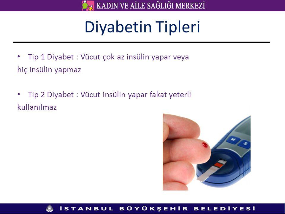Diyabetin Tipleri • Tip 1 Diyabet : Vücut çok az insülin yapar veya hiç insülin yapmaz • Tip 2 Diyabet : Vücut insülin yapar fakat yeterli kullanılmaz