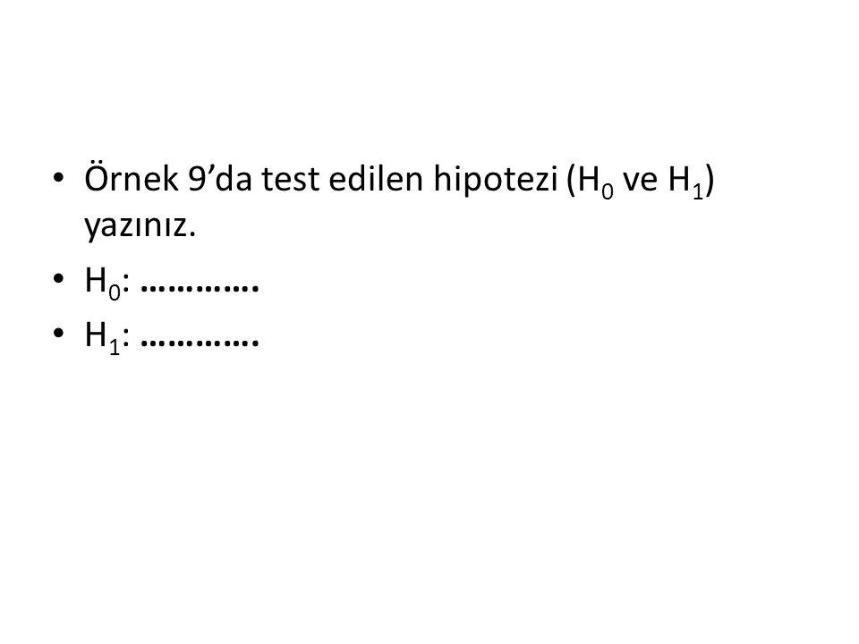 • Örnek 9'da test edilen hipotezi (H 0 ve H 1 ) yazınız. • H 0 : …………. • H 1 : ………….