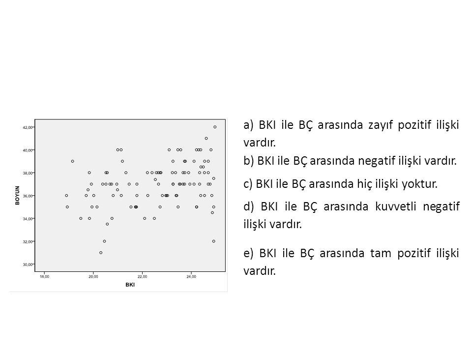 a) BKI ile BÇ arasında zayıf pozitif ilişki vardır. b) BKI ile BÇ arasında negatif ilişki vardır. c) BKI ile BÇ arasında hiç ilişki yoktur. d) BKI ile