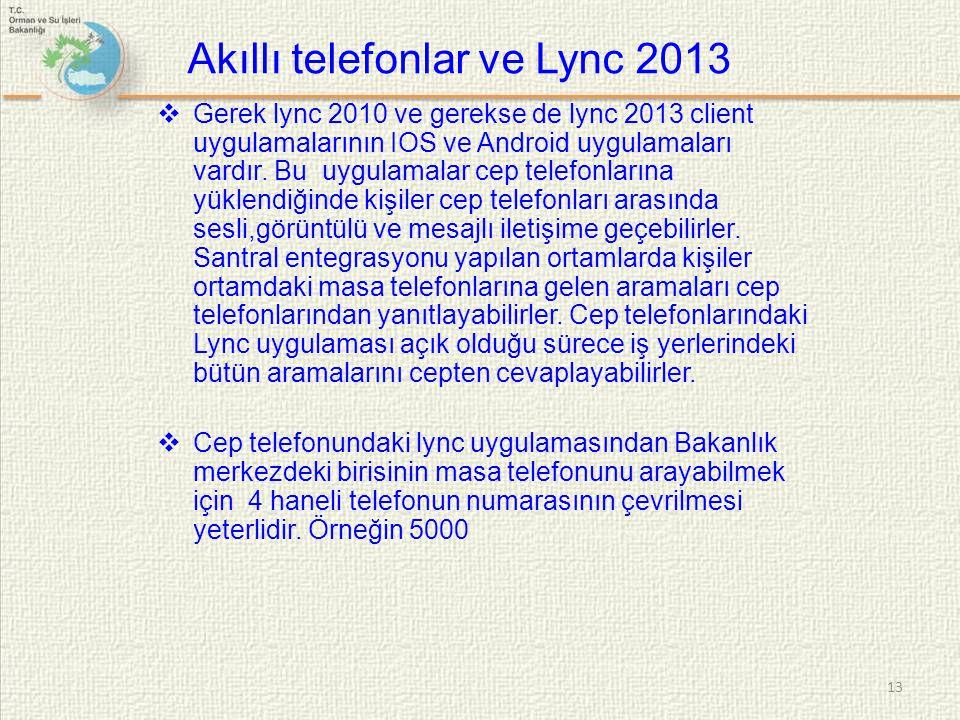  Gerek lync 2010 ve gerekse de lync 2013 client uygulamalarının IOS ve Android uygulamaları vardır. Bu uygulamalar cep telefonlarına yüklendiğinde ki