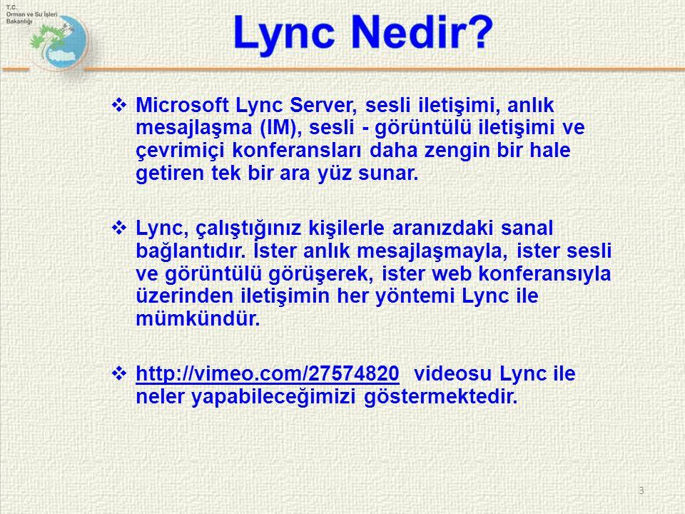  Microsoft Lync Server, sesli iletişimi, anlık mesajlaşma (IM), sesli - görüntülü iletişimi ve çevrimiçi konferansları daha zengin bir hale getiren t