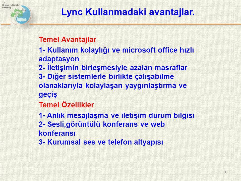  Sağladığı Kolaylıklar - Lync ile kullanıcıların durum ve yer bilgilerini görebiliriz..