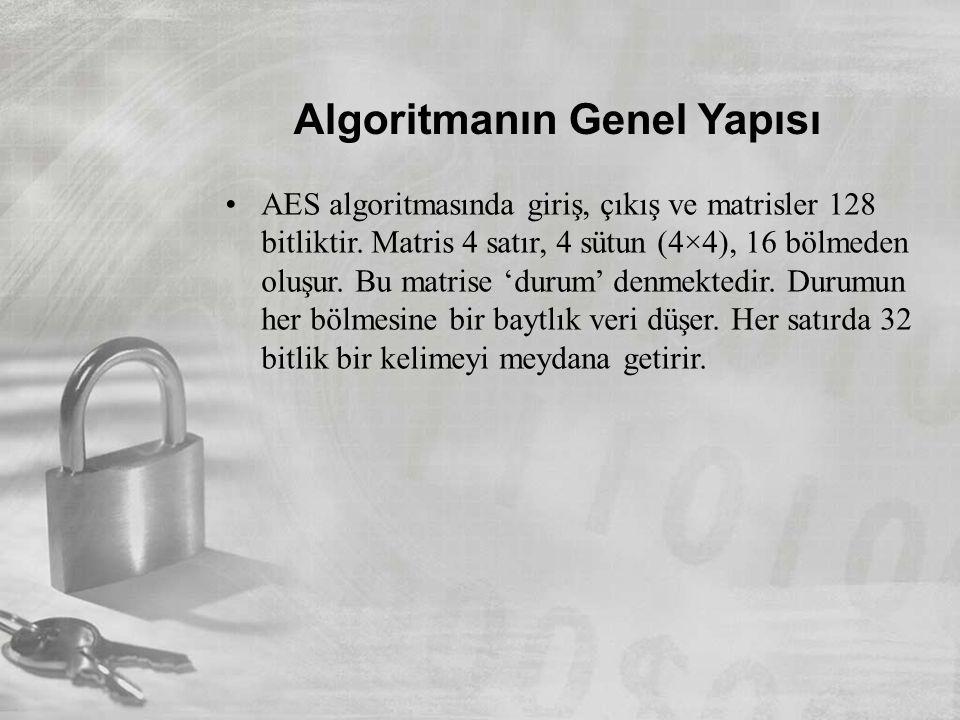 Algoritmanın Genel Yapısı •AES algoritmasında giriş, çıkış ve matrisler 128 bitliktir. Matris 4 satır, 4 sütun (4×4), 16 bölmeden oluşur. Bu matrise '