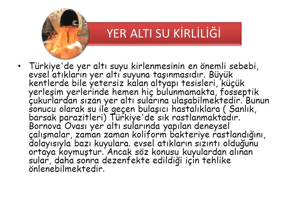 • Türkiye'de yer altı suyu kirlenmesinin en önemli sebebi, evsel atıkların yer altı suyuna taşınmasıdır. Büyük kentlerde bile yetersiz kalan altyapı t