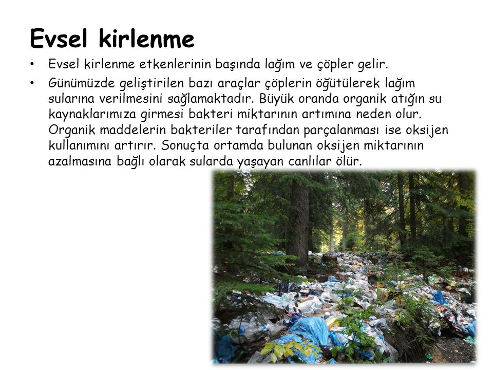 Evsel kirlenme • Evsel kirlenme etkenlerinin başında lağım ve çöpler gelir. • Günümüzde geliştirilen bazı araçlar çöplerin öğütülerek lağım sularına v