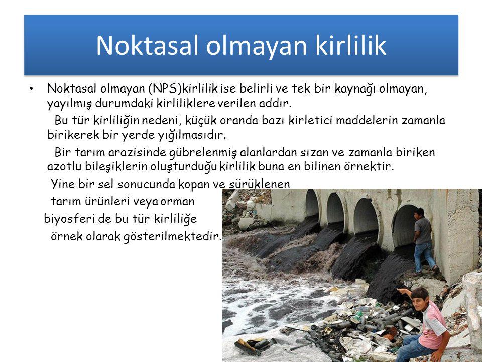 Noktasal olmayan kirlilik • Noktasal olmayan (NPS)kirlilik ise belirli ve tek bir kaynağı olmayan, yayılmış durumdaki kirliliklere verilen addır. Bu t