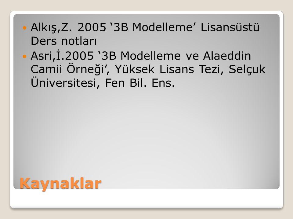 Kaynaklar  Alkış,Z. 2005 '3B Modelleme' Lisansüstü Ders notları  Asri,İ.2005 '3B Modelleme ve Alaeddin Camii Örneği', Yüksek Lisans Tezi, Selçuk Üni
