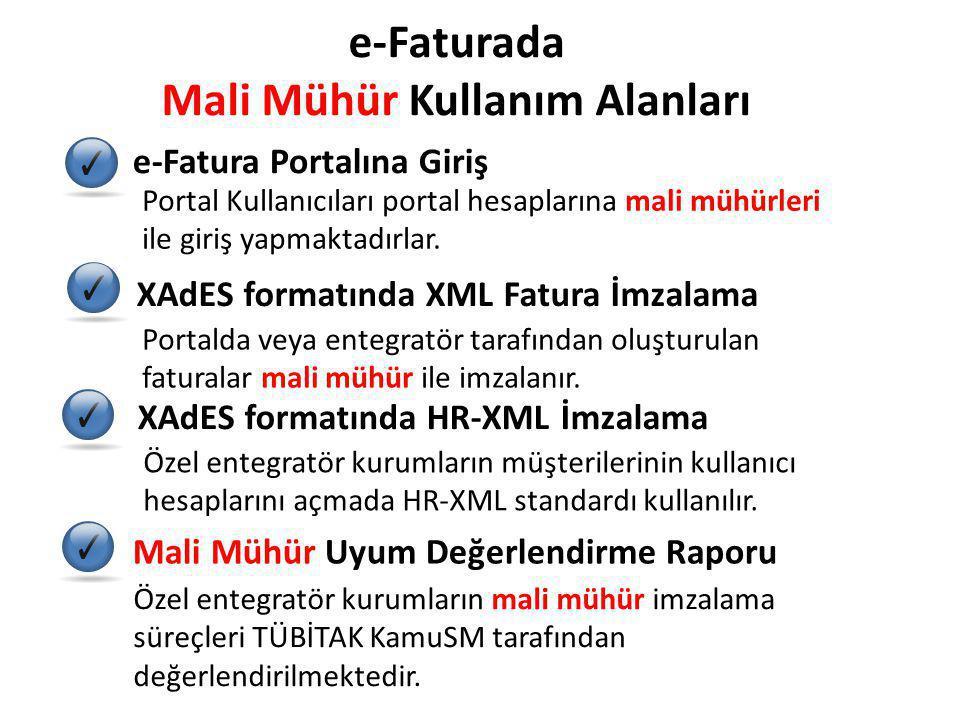 e-Faturada Mali Mühür Kullanım Alanları e-Fatura Portalına Giriş XAdES formatında XML Fatura İmzalama XAdES formatında HR-XML İmzalama Mali Mühür Uyum